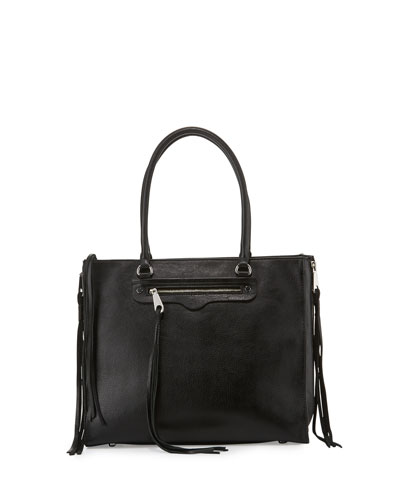 Regan Side-Zip Leather Tote Bag, Black
