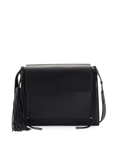 Panama Leather Shoulder Bag, Black