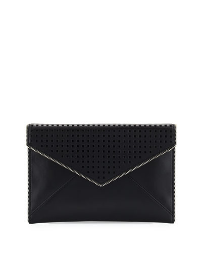 Leo Perforated Envelope Clutch Bag, Black