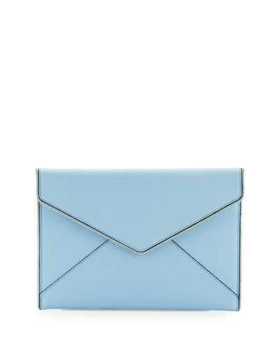 Leo Saffiano Envelope Clutch Bag, Sky