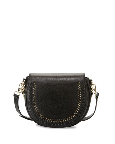 Astor Studded Saddle Bag, Black