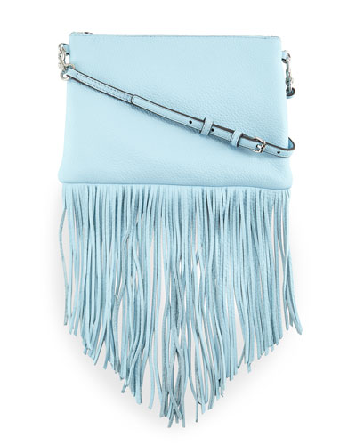Jon Leather Fringe Crossbody Bag, Sky