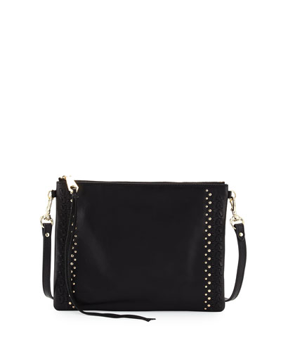 Jon Whipstitch Leather Crossbody Bag, Black