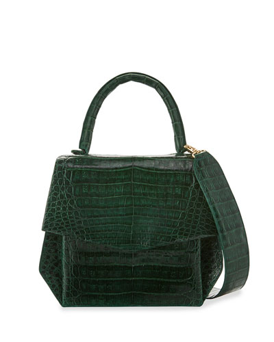 Crocodile Medium Structured Top-Handle Bag, Green Shiny