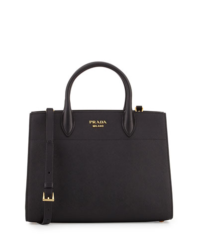 Bibliothèque Medium Saffiano Top-Handle Tote Bag, Black (Nero)