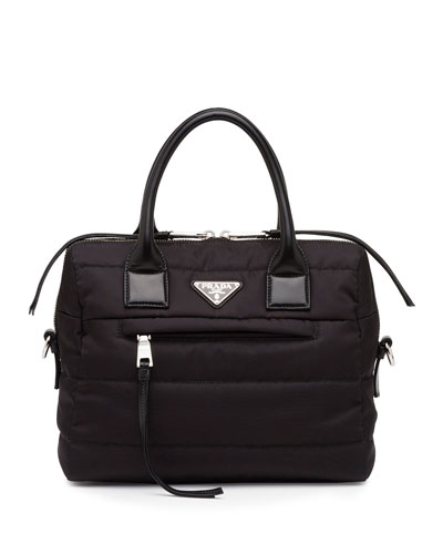 Medium Tessuto Bomber Double-Handle Satchel Bag