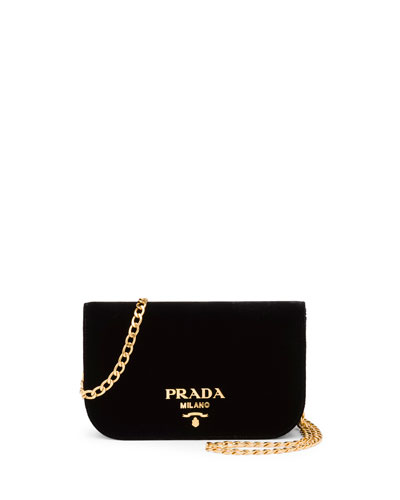Small Velvet Flap Crossbody Bag, Black