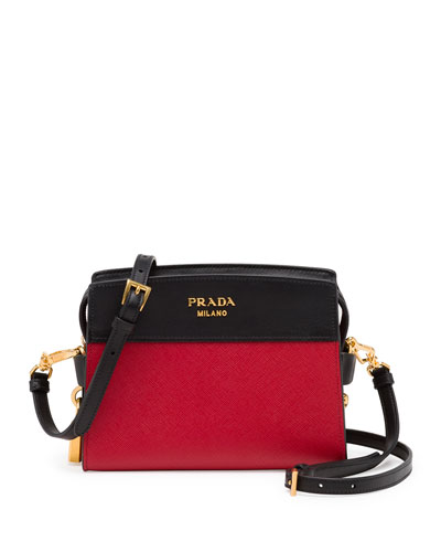 Bicolor Leather Camera Crossbody Bag, Red/Black