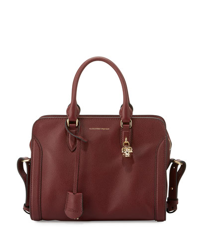 Padlock Small Leather Satchel Bag, Oxblood