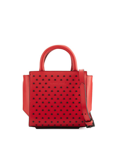 Brook Nano Studded Satchel Bag, Ruby Red