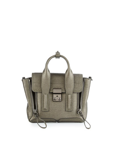 Pashli Mini Leather Satchel Bag, Pewter