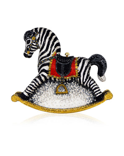 Toby Zebra Rocking Horse Evening Clutch Bag, Champagne/Multi