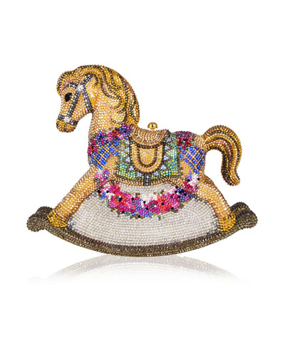 Penelope Floral Rocking Horse Evening Clutch Bag, Champagne/Multi