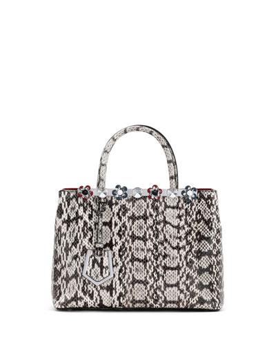 2Jours Petite Snakeskin Tote Bag, Gray/White