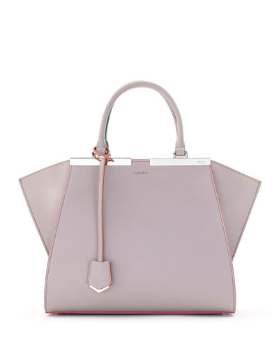 3Jours Leather Tote Bag, Beige/Pink