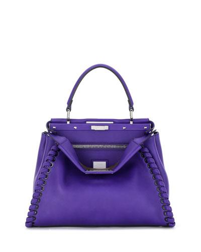 Peekaboo Medium Whipstitch Satchel Bag, Purple