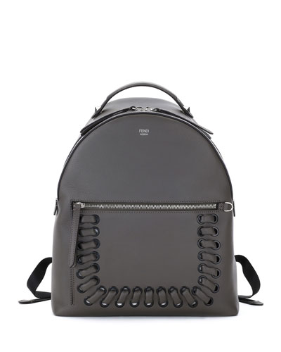 Whipstitch Leather Backpack, Dark Gray
