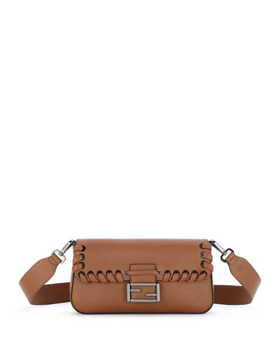 Baguette Whipstitch Leather Shoulder Bag, Camel