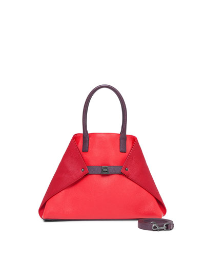 Ai Small Top-Handle Leather Shoulder Bag, Crimson/Burgundy
