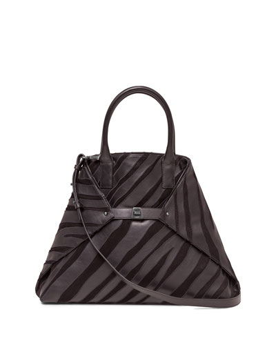 Ai Medium Top-Handle Zebra-Stripe Shoulder Bag, Black