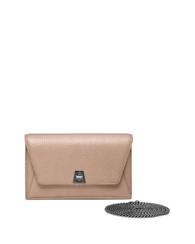 Anouk Leather Chain Envelope Clutch Bag, Metallic Bronze