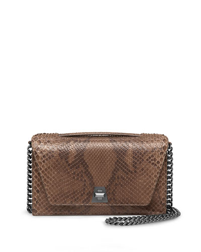 Anouk City Python Shoulder Bag, Olive
