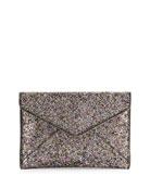 Leo Glitter Envelope Clutch Bag, Silver/Multi