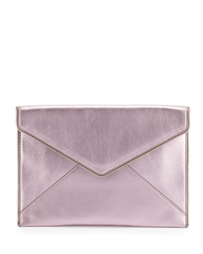 Leo Metallic Envelope Clutch Bag, Metallic Pink