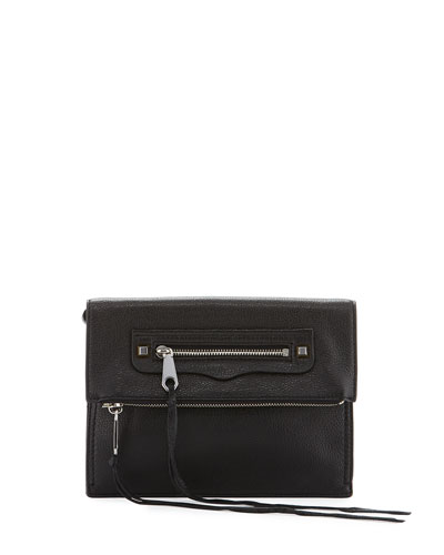 Regan Small Leather Clutch Bag, Black