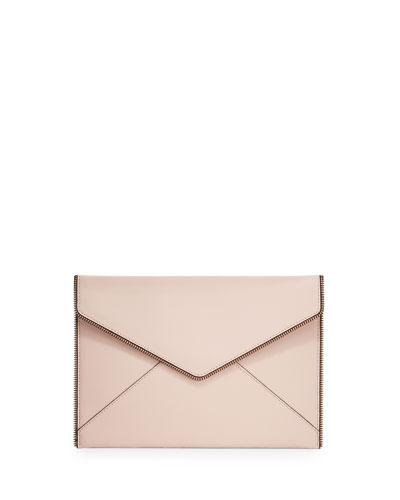 Leo Saffiano Envelope Clutch Bag, Vintage Pink