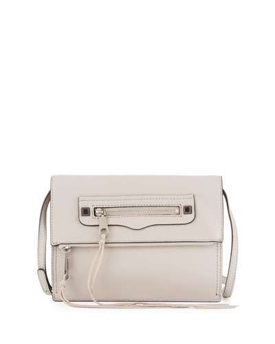 Regan Small Leather Clutch Bag, Putty