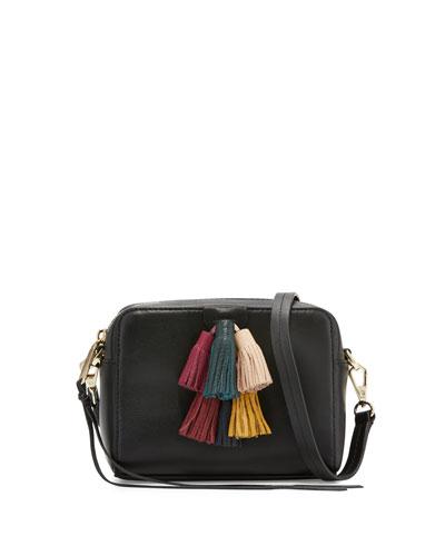 Sofia Mini Tassel Crossbody Bag, Black/Multi