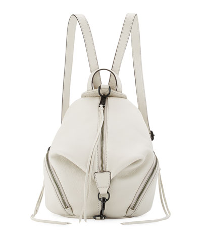 Julian Medium Leather Backpack, Putty