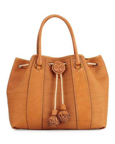 Amalfi Woven Drawstring Tote Bag, Peanut