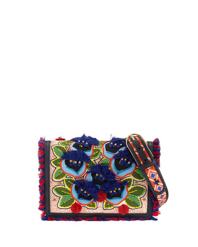 Embroidered Floral Flap Crossbody Bag, Natural/Red/Blue