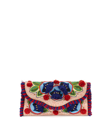 Embroidered Floral Flap Clutch Bag, Natural/Red/Blue