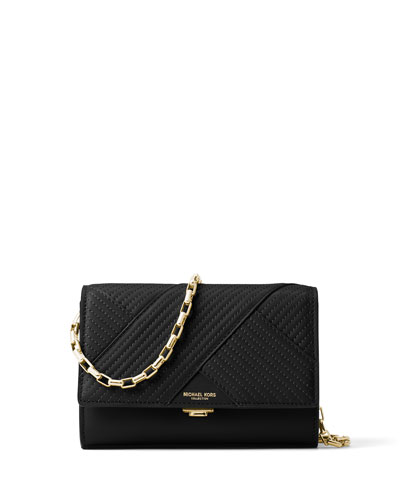 Yasmeen Small Quilted Leather Clutch Bag, Black