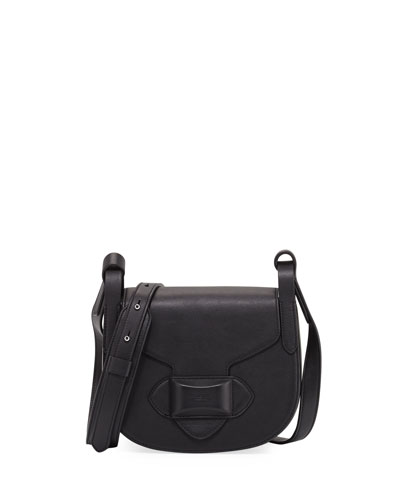 Daria Small Leather Crossbody Bag, Black