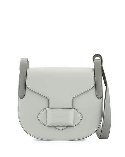 Daria Small Leather Crossbody Bag, Cement