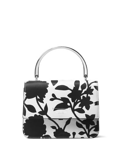 Kylie Small Top-Handle Satchel Bag, Black/White