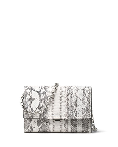 Yasmeen Small Snakeskin Clutch Bag, Natural