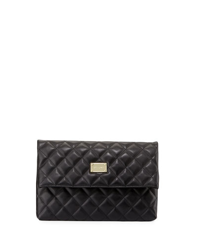 Quilted Leather Fold-Over Clutch Bag, Black