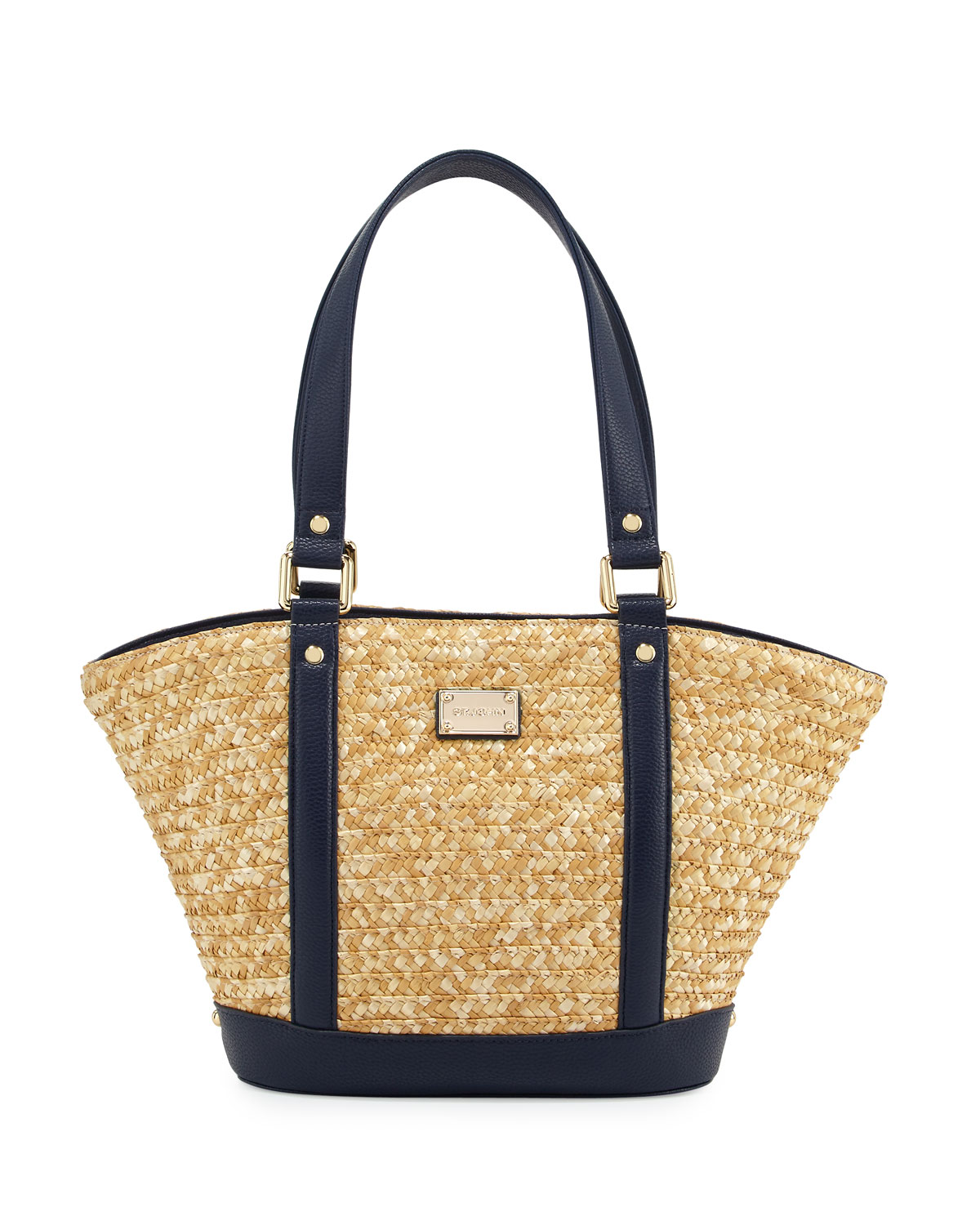 Woven Straw Tote Bag, Natural/Navy
