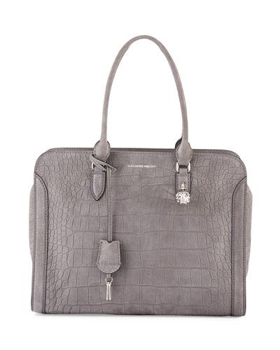 Crocodile-Embossed Padlock Satchel Bag, Gray