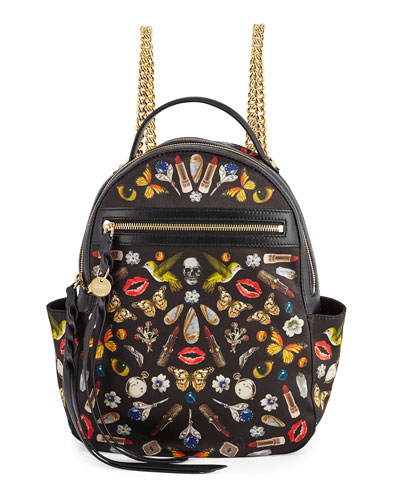 Obsession-Print Small Chain Backpack, Black/Multi