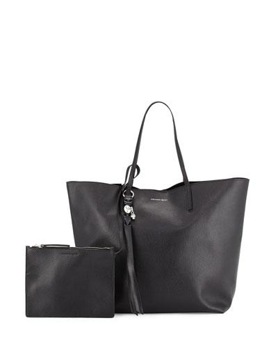 Skull Open Leather Shopper Tote Bag, Black