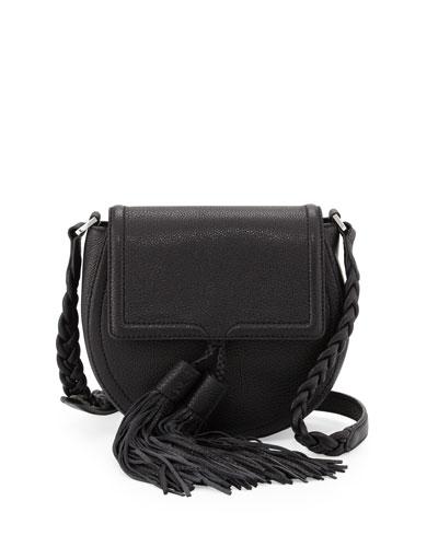 Isobel Leather Saddle Bag, Black