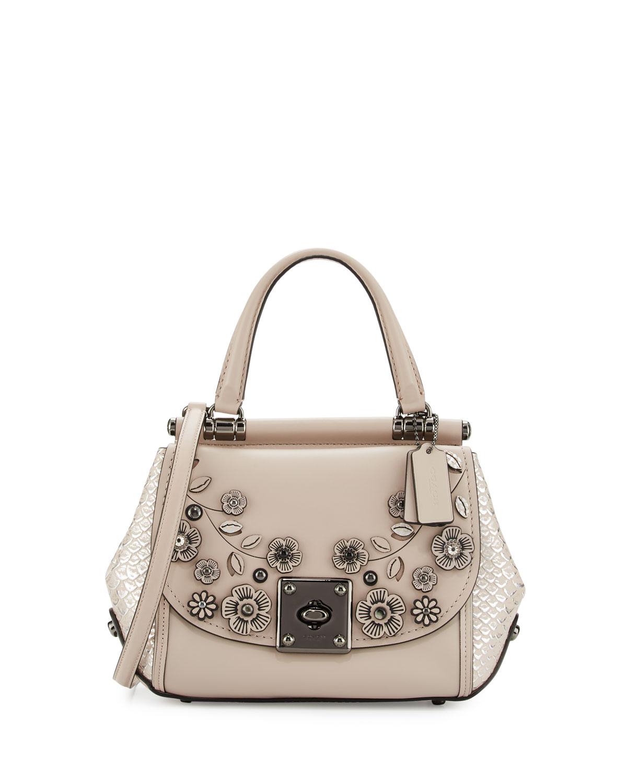 Drifter Floral Top-Handle Bag, Dark Gray Birch