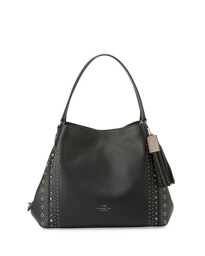 Edie 31 Bandana-Rivets Shoulder Bag, Dark Gunmetal/Black