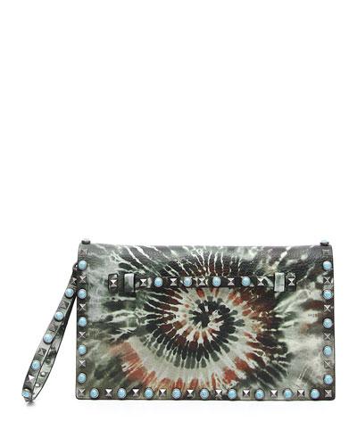 Rockstud Rolling Tie-Dye Clutch Bag, Army